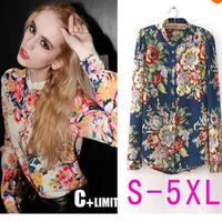 The new 2014 sexy personality Printing color chiffon long-sleeved shirt dress shirt S M L XL XXL XXXL XXXXL 5 XL