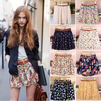 Hot Womens Retro Floral Chiffon High Waist Pleated Sheer Short Mini Skirts Belt #57260