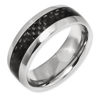 7MM Pure  Titanium  Ring,Black Carbon Fiber Inlay Jewelry, Comfort Fit Mens Wedding/Engagement  Band TI044R