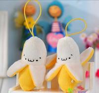 High quality cute face banana plush phone pendant,phone charm, bag pendant with ball charm