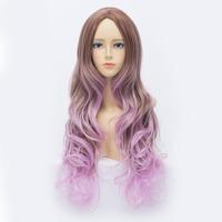 Qiyun Lolita Air Volume Gradual Long Wavy Straight Brown Purple Cosplay Costume Wig Peluca Perucke Perruque