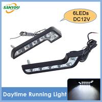 2014 New 1 Pair Universal 6LEDs White Car Led Daytime Running Light DRL Daylights Bulb Fog Lights L-Shape Waterproof Headlights