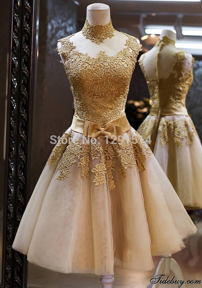 stehkragen gold spitze cocktailkleider vestido de festa 2014 heißen verkauf sexy backless kurzen eleganten maßgeschneidert für hochzeit billig