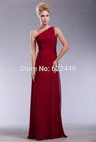 Free Shipping Fashion One Shoulder Floor-Length Chiffon Prom Dress