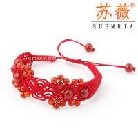Handmade accessories rich end red agate garnet red string bracelet