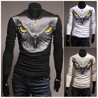 New Hot Fashion Men Full, Long SleevesT-Shirt, Male Slim Shirt, Man Top,O Neck, 3 Colors, Free Drop Shipping, WM00540