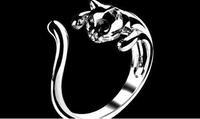Lovely Design Cute Kitten Shaped Open Ring 925 Silver Plated Ring JE5041