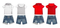2014 Baby Sets Summer 2pcs Boy Clothing Sets ShortSleeve T-Shirts+Denim Jeans Shorts Fashion Brand Kids Outfits 6sets/lot