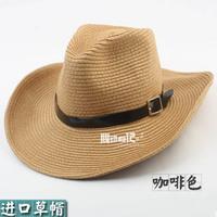 free shipping 2014 men hats Beach cap strawhat denim fishing cap big along the cap summer sun-shading hat male fedoras