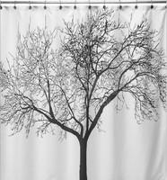 EW Big Black Scenery Tree Design Bathroom Waterproof Fabric Bath Shower Curtain