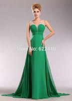 2014 New Design! Elegant Chiffon Sheer Straps With Beaded Floor-Length Prom Dress Free Shipping