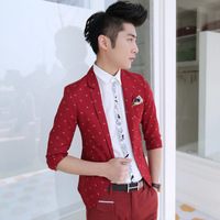 Free shipping! 2014 new men's fashion gallop embroidery Ingredient Slim Suit