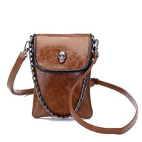2014 fashion cross body bag for women punk skull messenger bag female mini chain shoulder bag men vintage phone bag bolsa 5color