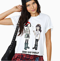 Webcasts richcoco fashion hot sick sad world cartoon print o-neck short-sleeve T-shirt