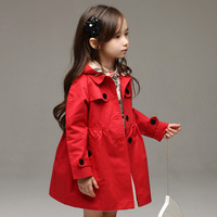 New arrival 2014 Kids Girls Autumn Brand Red Khaki Trench 2-8 years old girl Children outerwear Coats
