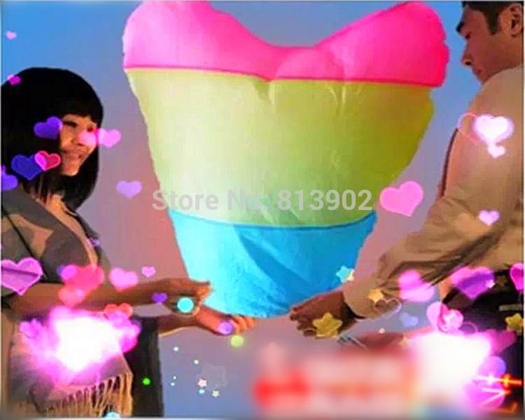 30pcs/lot three-colour Flying lantern Heart shaped UFO Lamp Wish Sky Lantern Birthday Xmas/Party/Wedding/Lamp(China (Mainland))