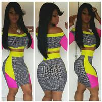 Celebrity New 2014 Summer Women Sexy Novelty Design Bandage Bodycon Dress Crazy Evening Party Dresses Print Club Dress M7-44