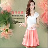 2014 New Fashion Stlye Cute Bule Short Sleeve Lace Pleated Chiffon Short Dress Hot Sale Brand Women Free Shipping