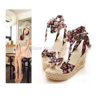 Big Size!! Big Size!! EU 30-43 women sandals bow tie platform wedges fashion cotton shoes fast free shipping black, blue pink