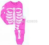 2014 new fashion spring&autumn unisex baby shinning skull pattern top long cotton Tshirts+long pant&capris pajamas set