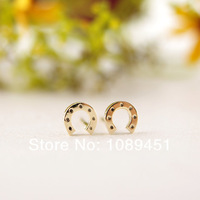 2014 New Arrival Fashion Horseshoe stud Earrings Tiny Stud color gold/silver/rose gold 30 pairs/lot Free Shipping