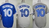 Toronto #10 Edwin Encarnacion Men's Authentic Cool Base Alternate Blue/Home White/Road Grey Baseball Jersey