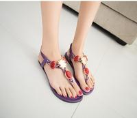 2014 summer south Korean princess tide flat sandals diamond gem euramerican Fan Song tight slippers clip toe shoes