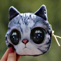 10 designs mix big face cat  Zipper Coin Wallet cartoon 3D coin purses cat change purse cute coin purse bag women wallets clutch
