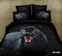(6 PCS/ SET) 100% cotton satin 3D Black panther printed bedding set with Fitted Sheet (with Rubber around)