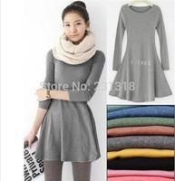 Free Shipping women's ladies' long sleeve Grinding wool comfortable dress, Joker maxi casual dresses F3211