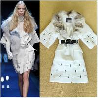 Free Shipping Runway 2014 Winter New Arrival Women's Fox Fur Collar Beading Mink Fur Coat Overcoat Ladies Trench Outerwear