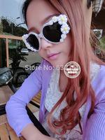 Europe and the United States retro princess love Shaped Sunglasses sweet flowers Rhinestone Heart exaggerated Sunglasses