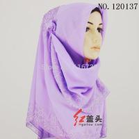 2014 free shipping muslim Islamic 105*150cn Bali yarn hot drilling headscarf wome hijab bandanas turban with Diamond cheapest