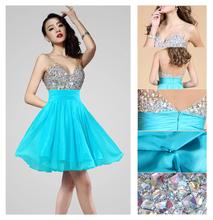 azul corto vestido de noche fiesta de bodas anfitrión ceremonia de fiesta formal vestido de dama tamaño 6 8 10 12(China (Mainland))