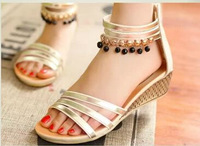 2014 summer new single shoes women sandals with wedges melting beads of Bohemian students peep-toe shoes for women's shoes