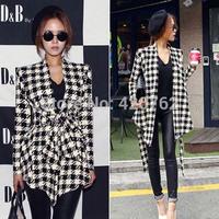 2014 New Fashion Casual Women Vogue Long Sleeve Houndstooth Knitting Jacket Outerwear Clothing Coat Tops Cardigan Belt Peplum