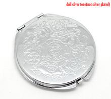 """El tono de plata tallada Maquillaje espejo compacto 6.6x6.2cm ( 2-5 / 8 """" X2-1 / 2 """" ) , que se vende por paquete de 1(China (Mainland))"""