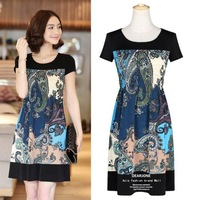 Summer New Arrival 2014 Printed Dress Aristocratic Style Short Sleeve O-Neck Patchwork Straight Mini Vestidos High Quality 9031
