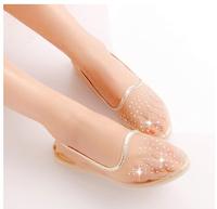 Transparent summer sandals white gauze flat point diamond flat doug shoes lady flat non-slip soft bottom pregnant women