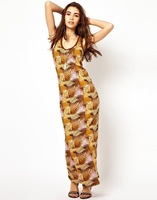 The new 2014 summer European style knitted vest tropical print dress and long sections Slim sexy dress KZ219