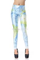 New Arrival Digital Printed Women Leggings World Map Design Pattern Pants For 2014 Summer Fashion NADANBAO DK198