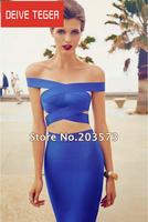 (Deive teger )Free shipping 2014  2 piece Set top & skirt bandage Celebrity dress Cocktail Party  Dresses blue HL1081