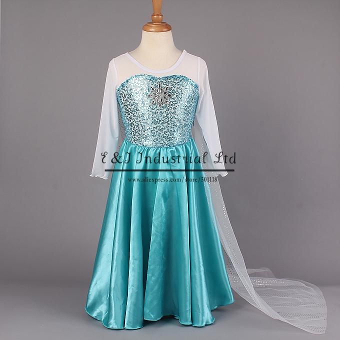 Retailer 2015 Elsa Dress Custom Made Movie Cosplay Dress Anna Girl Dress Princess Elsa Costume for Children 3-7Y(Hong Kong)