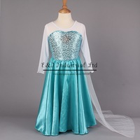 Retailer 2014 Elsa Dress Custom made Movie Cosplay Dress Summer Anna Girl Dress Frozen Princess Elsa Costume for Children 3-7Y