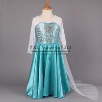 Retailer 2015 Elsa Dress Custom made Movie Cosplay Dress Summer Anna Girl Dress Frozen Princess Elsa Costume for Children 3-7Y