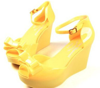 2014 summer new sweet bowknot jelly shoes women wedges fish mouth sandals waterproof platform heels