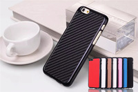 Mix Colors Carbon Fiber Pattern Case for Apple iPhone 6 6G 6th Electroplating Frame Hard Back Cover Cases 10pcs