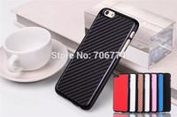 Mix Colors Carbon Fiber Pattern Case for Apple iPhone 6 6G 6th Electroplating Frame Hard Back Cover Cases 10pcs