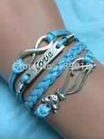 Free Shipping!6PCS/LOT!Build You Own Silver Alloy Charm Bracelet Animal Fox LOVE Infinity Trendy Women Costume Jewelry W-589