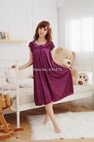Promotion Summer womens Viscose Sleepwear Plus Size Bust 120cm Sexy Short-sleeve Nightgown Homey Night Dress Free Shipping